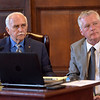 TIM JEAN/Staff photo<br /> <br /> <br /> Mayor James Jajuga, left, and City Auditor Tom Kelly listen to speakers during the public hearing on the 2019 budget in the Great Hall of Methuen City Hall.   6/12/18