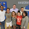 TIM JEAN/Staff photo<br /> <br /> <br /> Brian Theirrien, center, Chief Executive Officer of the Greater Haverhill Boys and Girls Club gathers with his staff  from left to right, Victor De Jesus, Nicholas Munoz, Brianna Munoz, Jalexis Alvarado, Cassandra Diaz. In back are Brian Theirrien, and Elvis Penalo.  Theirrien is leaving to be the director of the Boys and Girls Club in Lynn. 6/14/18
