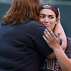 CARL RUSSO/Staff photo. Whittier's head coach, Cheryl Begin hugs one of her four senior players, Jacklyn Verrette after the game. Whittier Tech was defeated 10-2 by North Reading in Div. 2 North softball semifinals. 6/13/2018