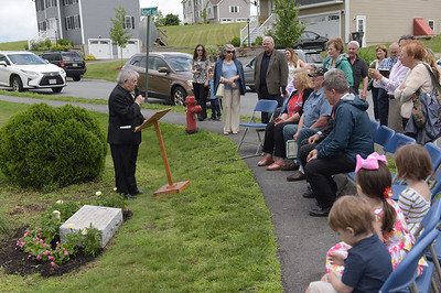 TIM JEAN/Staff photo  Father Gino Marchesani, left, speaks during a dedication ceremony for the marking of the former site of Don Orione Fathers Seminary, a Summer Camp for Children and Residential Home for the Intellectually Disabled in Haverhill.      6/21/19