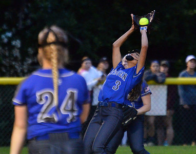 CARL RUSSO/staff photo Methuen senior captain, Nyah Mazzone makes a difficult catch for the out.    Methuen defeated Bridgewater-Raynham 6-2 in state semifinals softball action Wednesday night. 6/19/2019