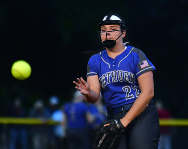 CARL RUSSO/staff photo Methuen's starting pitcher Jillian McCoy in action.   Methuen defeated Bridgewater-Raynham 6-2 in state semifinals softball action Wednesday night. 6/19/2019