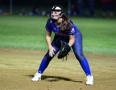 CARL RUSSO/staff photo Methuen's senior captain and first baseman, Cori Rizzo is ready for action.   Methuen defeated Bridgewater-Raynham 6-2 in state semifinals softball action Wednesday night. 6/19/2019