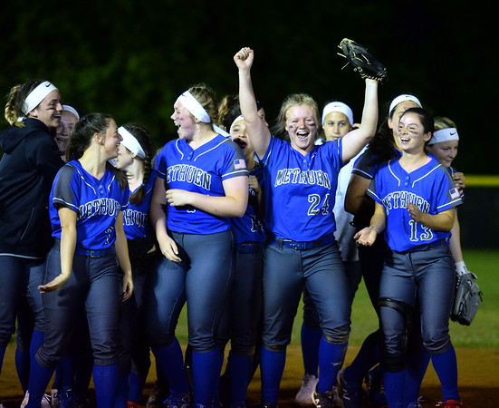 CARL RUSSO/staff photo The Methuen Rangers celebrate  after defeating Bridgewater-Raynham 6-2 in state semifinals softball action Wednesday night. 6/19/2019