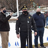 TIM JEAN/Staff photo<br /> <br /> Acting Police Chief Kristopher McCarthy center, speaks during a Covid-19 victims memorial ceremony outside the Quinn Public Safety Building. The event included the Methuen Police Honor Guard, Methuen Fire Department a moment of silence, and a symbolic 71 bell tolls to represent the lives lost.  3/1/21
