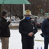 TIM JEAN/Staff photo<br /> <br /> Tim Sheehy, center, Methuen Fire Chief speaks during a Covid-19 victims memorial ceremony outside the Quinn Public Safety Building. The event included the Methuen Police Honor Guard, Methuen Fire Department a moment of silence, and a symbolic 71 bell tolls to represent the lives lost.  3/1/21