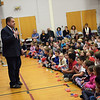 TIM JEAN/Staff photo<br /> <br /> Dr. Gregg Gilligan, Superintendent Of North Andover Public Schools speaks on the 100 year anniversary of the death of Pvt. Albert E. Thomson during a Salute to Veterans program the elementary school. The school is named in honor of Pvt. Albert E. Thomson, who was killed in World War I on Nov. 9, 1918, 100 years ago this day.  11/9/18