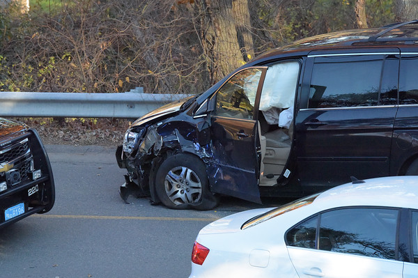 TIM JEAN/Staff photo<br /> <br /> This Honda Odyssey was involved in a accident with a school bus carrying about 20 Andover High School students on Red Spring Road, Thursday afternoon. No one was injured.    11/8/18