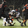 CARL RUSSO/Staff photo North Andover's Freddy Gabin fights for more yardage. North Andover defeated Lincoln-Sudbury 42-0 in D2 North final football action. 11/09/2018