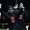 CARL RUSSO/Staff photo North Andover's Freddy Gabin celebrates after scoring a touchdown. North Andover defeated Lincoln-Sudbury 42-0 in D2 North final football action. 11/09/2018