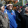 TIM JEAN/Staff photo<br /> <br /> Veterans from left, John Morgan, Robert Gauthier and Leonard Enaire, all of North Andover, salute as the flag is raised at the start of a Salute to Veterans program at the Pvt. Albert E. Thomson Elementary School. The school is named in honor of Pvt. Albert E. Thomson, who was killed in World War I on Nov. 9, 1918, 100 years ago this day.  11/9/18