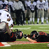 CARL RUSSO/Staff photo. North Andover's Raphael Usuomon sacks Lincoln-Sudbury's quarterback Braden O'Connell causing him to fumble and allowing North Andover's Matt Kreidberg to recover the fumble. North Andover defeated Lincoln-Sudbury 42-0 in D2 North final football action.11/09/2018