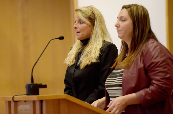 TIM JEAN/Staff photo<br /> <br /> Sandra Kattar, left, stands next to her defense attorney Jennifer Capone during her arraignment in Lawrence District Court.  11/8/18