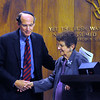 CARL RUSSO/Staff photo. Rabbi Robert Goldstein of Temple Emanuel greet guest speaker, a Schindler's List Holocaust survivor, Rena Ferber Finder after she told her story to hundreds attending Temple Emanuel of Andover  annual Kristallnacht-Holocaust remembrance service Thursday night. The event ''Shattered Glass, Shattered Lives'', was sponsored by the temple and the Center for the Study of Jewish, Christian and Muslim Relations at Merrimack College. Kristallnacht or Crystal Night, is the night of terror when the Nazis  killed at least 91 Jews in Germany on Nov. 9 and 10 in 1938. and burned synagogues and Jewish businesses. 11/08/2018