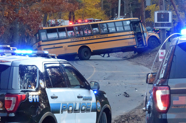 TIM JEAN/Staff photo<br /> <br /> A school bus carrying about 20 Andover High School students was involved in an accident on Red Spring Road with a Honda Odyssey, Thursday afternoon. No one was injured.    11/8/18