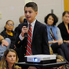 TIM JEAN/Staff photo<br /> <br /> Fifth grader Kyle Trombly speaks during his presentation on Veterans Service, during a Salute to Veterans program at the Pvt. Albert E. Thomson Elementary School. The school is named in honor of Pvt. Albert E. Thomson, who was killed in World War I on Nov. 9, 1918, 100 years ago this day.  11/9/18