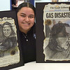 TIM JEAN/Staff photo<br /> <br /> Stephanie Lamalima, 16, a Lawrence High School student, created these two national art entries using Eagle-Tribune print editions from the Sept. 13 gas explosion.   11/8/18