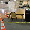 TIM JEAN/Staff photo<br /> <br /> Keeping people socially distant because of Covid-19 by using safety cones to mark a path where residents will walk after casting ballots during Election Day at the Methuen Senior Center.    11/2/20