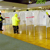 TIM JEAN/Staff photo<br /> <br /> Methuen DPW workers set up the voting booths for Election Day at the Methuen Senior Center.    11/2/20