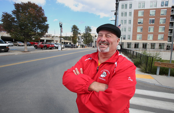 MIKE SPRINGER/Staff photo Dan Plourde, president of the VFW Santa Parade Committee, stands along the parade's new route on Merrimack Street in Haverhill. 10/16/2018