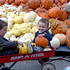 Debbie Hewson, right, of Andover, makes her children laugh as she snaps photos of William, 4, left, and Benjamin, 2, at Boston Hill Farm in North Andover. The farm features pick your own apples, pumpkins, as well as fall treats such as apple cider donuts and a full bakery, and even has an ice cream parlor.  10/12/21