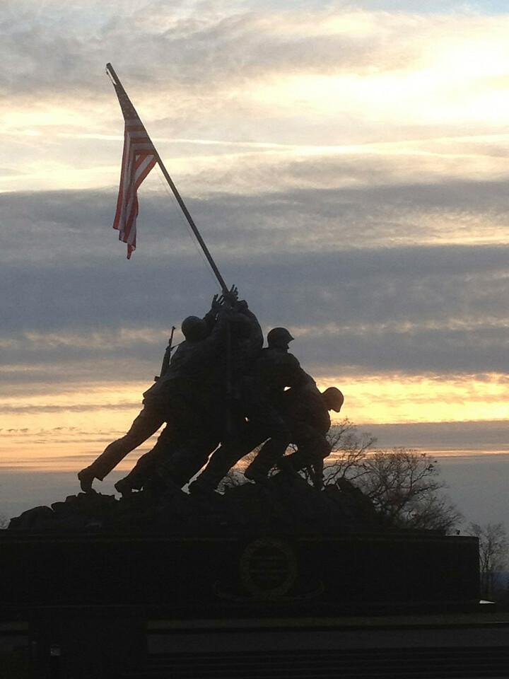 Marine Corps Monument at Sunset
