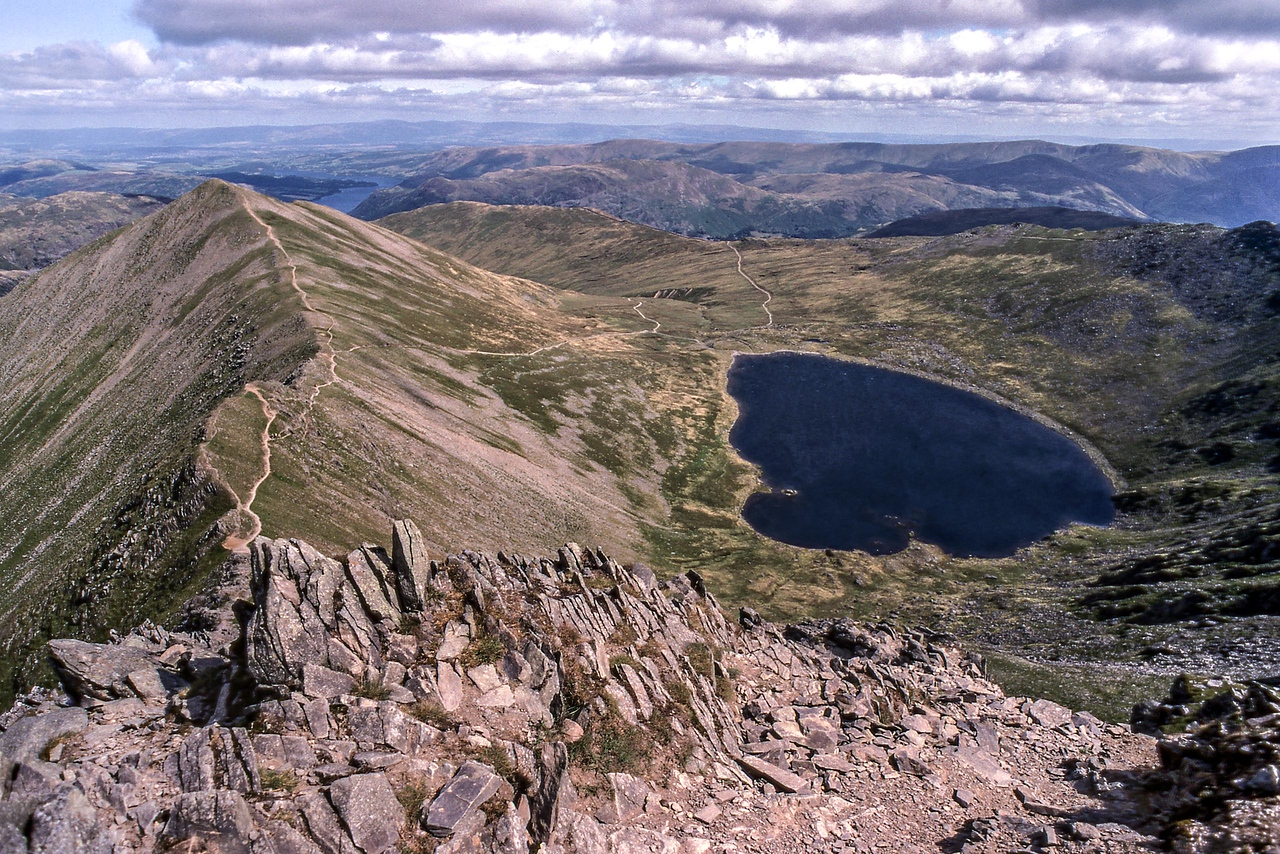 Catseyecam and Red Tarn from the top of Swirral Edge