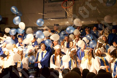 The Sumner Memorial High School Class of 2019 releases balloons after turning their tassels, signifying they are official graduates.