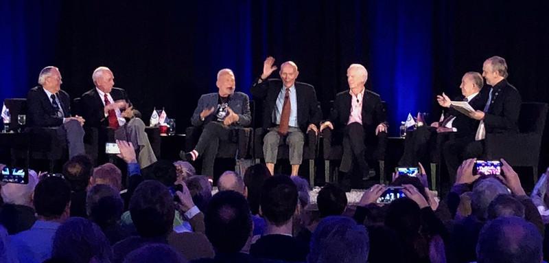 Michael Collins greets the audience.<br /> ECAD Blast Off! - Apollo Astronaut Symposium<br /> Marriott Marquis Hotel<br /> Saturday, March 16, 2019