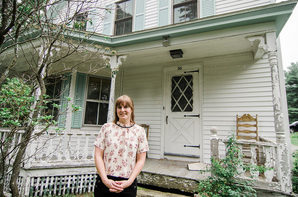 . Independent filmmaker Jenn Potts stands in front of a neighbor\'s home that will be used for exterior shots for her short film \'The Extraordinary World Of Cecily Blinkstop\', as seen on Wednesday, July 12, 2017. SENTINEL & ENTERPRISE / Ashley Green