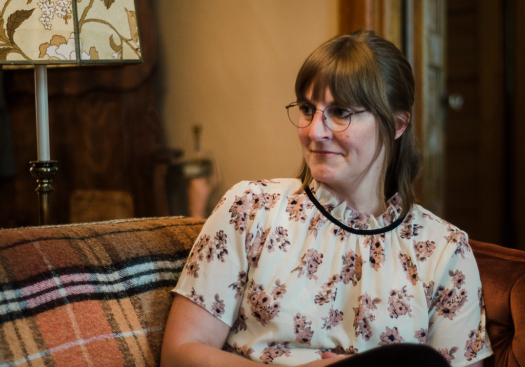 . Independent filmmaker Jenn Potts speaks about shooting her short film \'The Extraordinary World Of Cecily Blinkstop\' at her Fitchburg home on Wednesday, July 12, 2017. SENTINEL & ENTERPRISE / Ashley Green