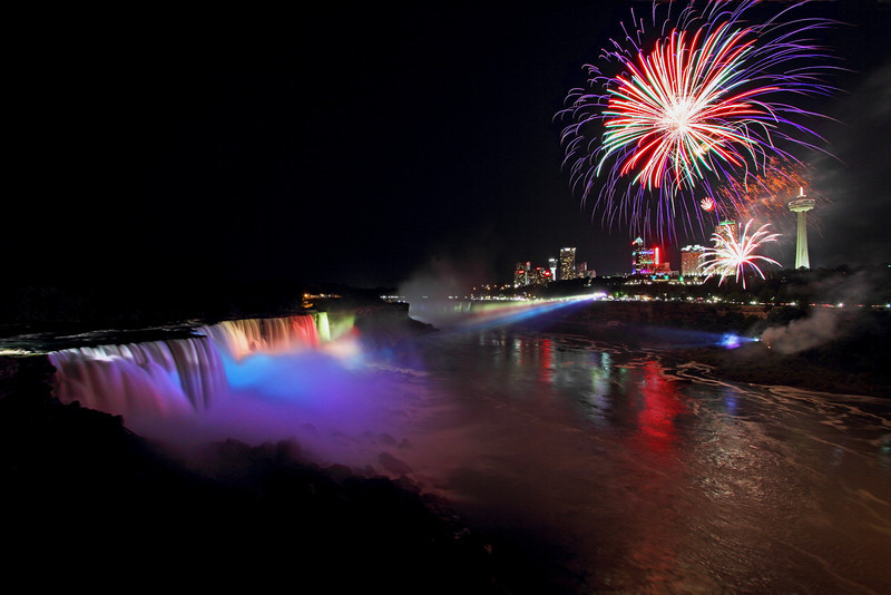 Image #437<br /> Fireworks over American & Canadian Falls ~ Niagara Falls, N. Y.
