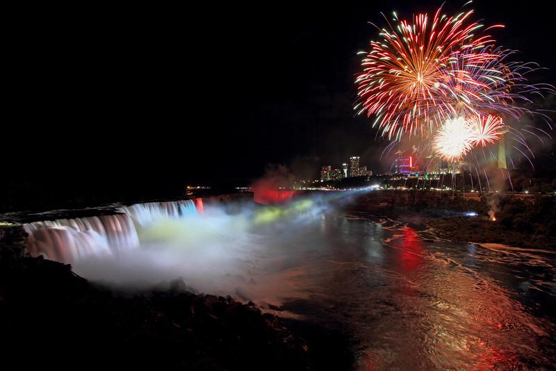 Image #541<br /> Fireworks over American & Canadian Falls ~ Niagara Falls, N. Y.