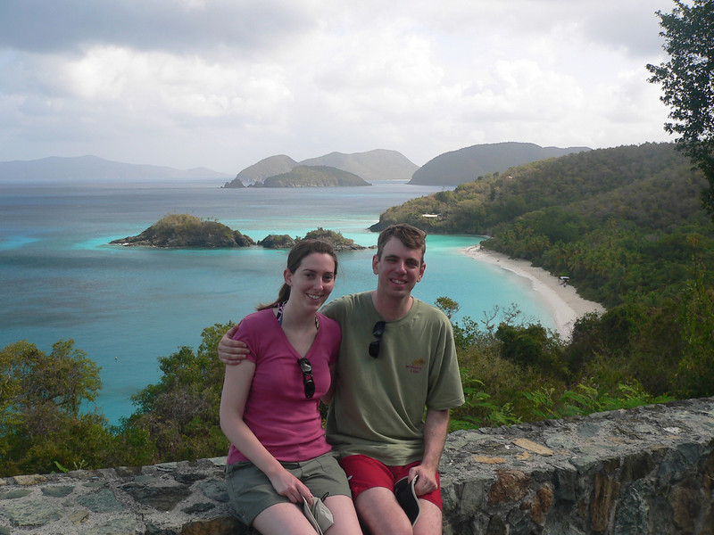 The view of Trunk Bay from a viewpoint along the road there.