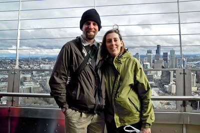 The beginning of 30 minutes of sunshine and dryness... atop the Space Needle with downtown Seattle behind us.