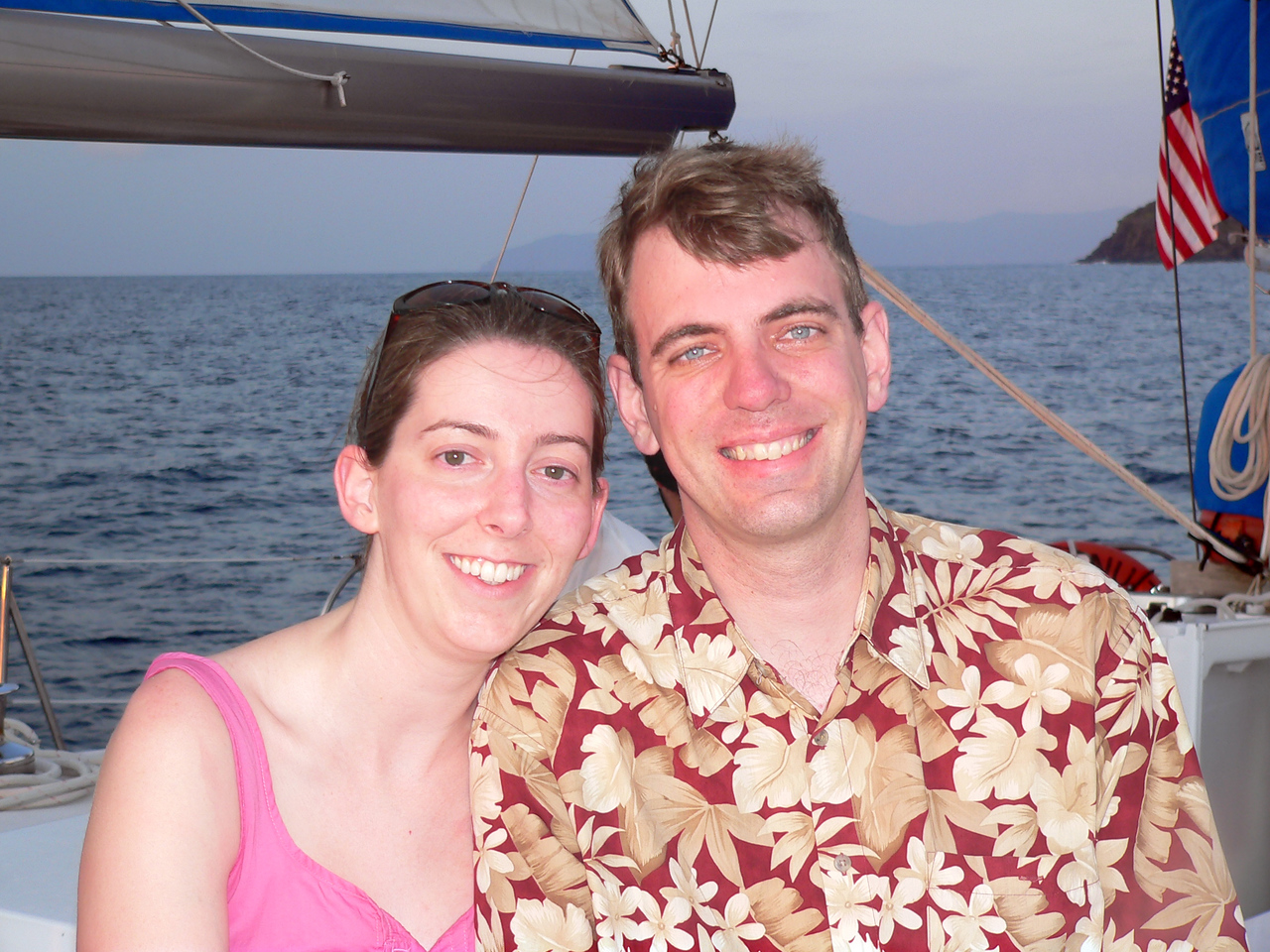 Julia and I on our sunset cruise in the waters near the resort.