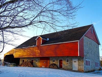 Evening sun on red barn
