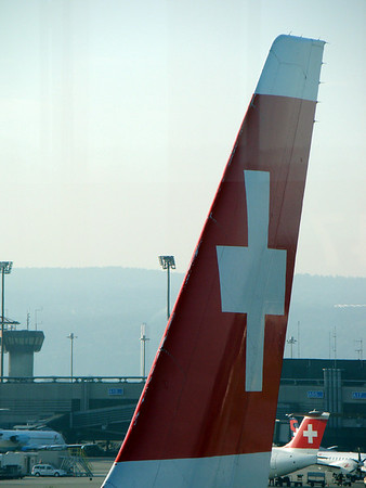 Swiss Air airplane tail at Zurich Airport