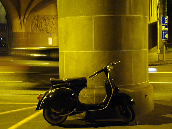 Took this picture of a nice classic scooter beneath a bridge in Zurich, Switzerland.