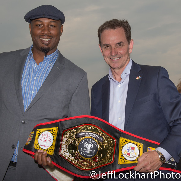 Lennox Lewis, the last undisputed world heavyweight champion and businessman/promoter Les Woods of Global Legacy Boxing