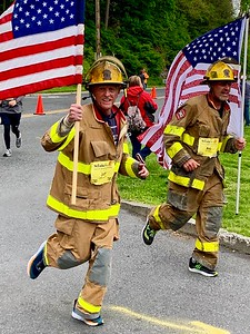 FF Jeff LeCompte running the 2019 St. Lukes Hospital Marathon in his PPE. April, 2019.