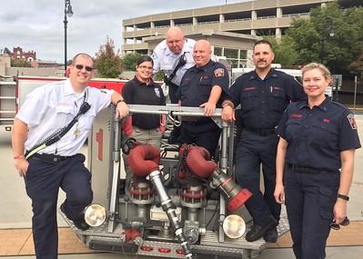 Fire Marshal Jeremy Searfoss, Olivia the intern , Deputy Chief Jim Stoudt, Lt. Trent Zulick, Lt. Bob Stichter, Lt. Gail Knauer.