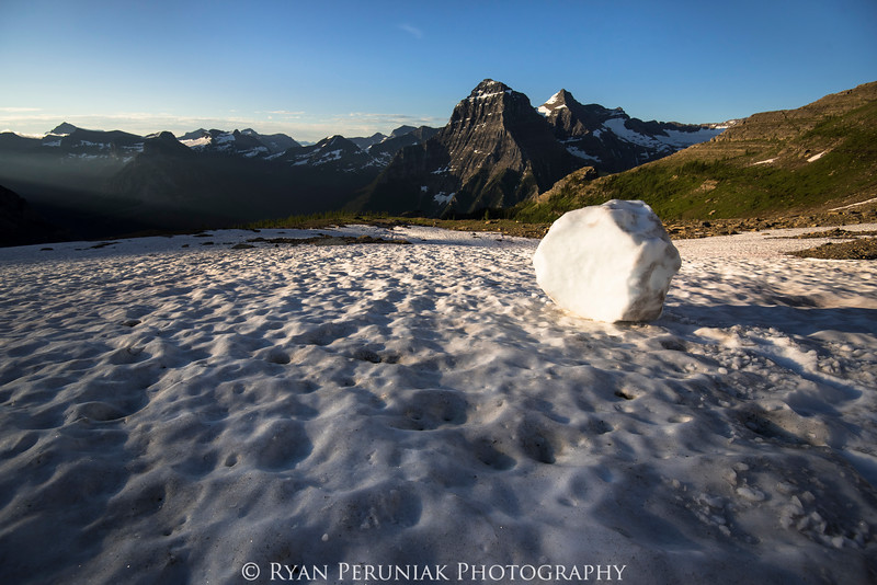 In the middle of the night I heard a thunderous crash in the mountains high above my tent.  In the morning I went to investigate and found a huge chuck of snow had released from an ice-field and bounced down the mountainside.  As I took this photo I was very cognisant that I had become a human bowling pin should another chuck decide to break off above me.