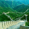 Travel China Great Wall with green mountains