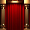red curtains with columns