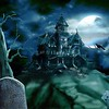 Haunted house with tombstone