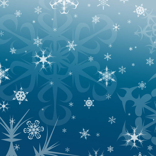 snowflakes on medium blue