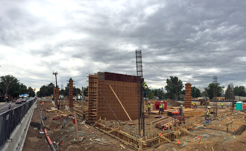 A panoramic view from the northeast corner of the Lincoln Avenue apartment/retail building, looking southwest, shows the progress that Brinkman has made on The Foundry redevelopment project in downtown Loveland on Wednesday, July 12, 2017. (Photo by Craig Young / Loveland Reporter-Herald)
