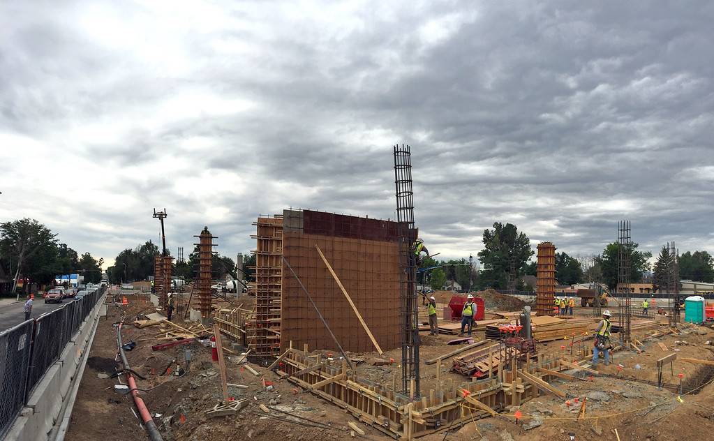 . A panoramic view from the northeast corner of the Lincoln Avenue apartment/retail building, looking southwest, shows the progress that Brinkman has made on The Foundry redevelopment project in downtown Loveland on Wednesday, July 12, 2017. (Photo by Craig Young / Loveland Reporter-Herald)
