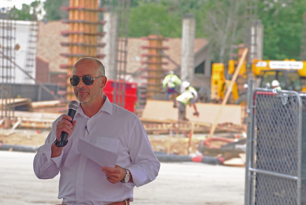 . Jay Hardy with Brinkman Partners speaks Wednesday, July 12, 2017, during a groundbreaking ceremony for The Foundry project in downtown Loveland. (Photo by Jeff Stahla/Loveland Reporter-Herald)